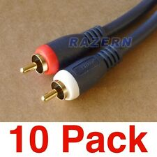 10-pk 6 ft Python stereo 2-RCA premium gold audio cable