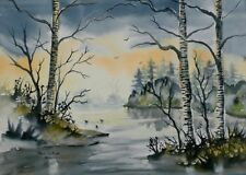 Original Watercolour Painting by Bill Lupton  - Across the Lake