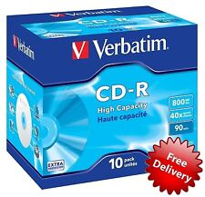10 Verbatim CD-R 90Min Jewel Case: Standard (40x) 800 MB 43428 Music & Data