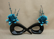 ARTIFICIAL SILK (SET OF 2) TEAL DRAGON FLOWERS IN BLACK COMMA CERAMIC VASE