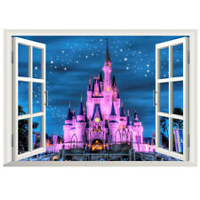 3D Princess Castle Star Window View Wall Decals Stickers Kids Decor Removable