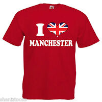I Love Heart Manchester Adults Mens T Shirt 12 Colours Size S - 3XL