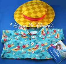 OLAF DISNEY FROZEN HAWAII SHIRT & HAT SET BUILD-A-BEAR TEDDY CLOTHES COSTUME NEW