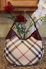 Burberry ELLY STUDDED PATENT NOVA PLAID HOBO BAG PURSE (PU140