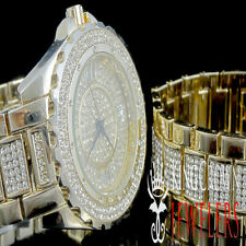Men's Lab Diamond Iced Out Yellow Gold Finish Hip Hop Watch & Bracelet Combo Set