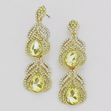 Long Elegant Pageant Formal Party Jonquil Yellow Luxury Statement Earrings