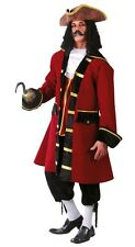 Mens Red Pirate Captain Hook Halloween Film TV Fancy Dress Costume Outfit Large