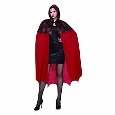 Spiderweb Vampire Hooded Cape Sexy Halloween Costume Black Red Glitter OSFM
