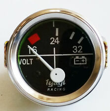 "VOLT VOLTMETER VOLTAGE METER GUAGE CLOCK 16-32 BAR 24volt  52MM 2"" DIA CHROME"