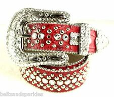 BB Simon Swarovski Crystal Red Leather Belt 36 XL New