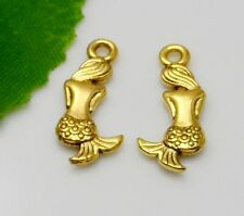 Free Ship 15Pcs plated Gold Mermaid Charms Pendant Fit Bracelet 20x9mm