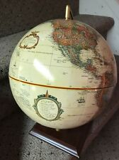 Vintage Replogle Globe Tan Color With Wooden Stand Nice Shape WORLD CLASSIC 9""