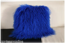 "100% Blue Mongolian Tibet Lamb Cover 100% Fur Pillow Cushion Cover 16""x16"""