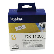 BROTHER DK-11208 BLACK ON WHITE 38x90mm / 400 LARGE ADDRESS LABEL ROLL ETIKETTES