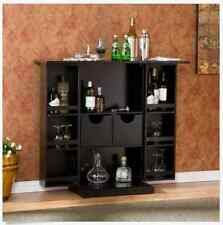 Dry Bar And Wine Cabinet Fold Away With Liquor Storage Black Wood Furniture