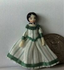 "Dollhouse Miniature Porcelain Dollhouse Doll Ethel Hicks ""Amelia in Green"""