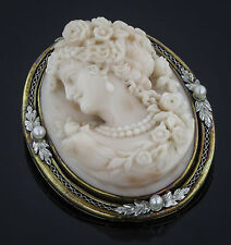 Belle Epoque Pink Shell Cameo, 14K Gold, Platinum and Natural Pearls