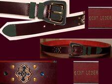 Echt Leder Gürtel=Top Qualität=dunkles Bordeaurot+Tannengrün & genietete Steine