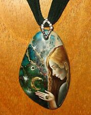 Russian hand painted Beautiful WISHING ON A STAR GIRL STONE pendant UNIQUE GIFT