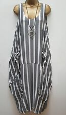 New Italian Lagenlook Grey White Stripe Quirky long maxi Dress uk 16 18 20 22