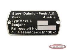 Puch Maxi L typenschild Original Modell Teile Mofa Moped Schild E50