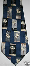 Nouveau 1980s true vintage cravate française 100% soie cravate jacquard floral bleu/blanc