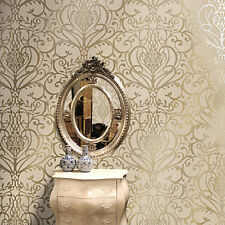 EXCLUSIVE HOLDEN STATEMENT FLORAL DAMASK PATTERN METALLIC GOLD WALLPAPER