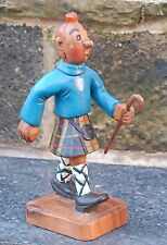Wooden Hand Carved Standing Scottish Boy Green Hunting Stewart Kilt