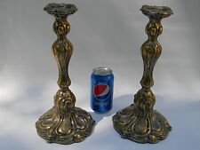 Big Pair Art Nouveau Silver Plate Brass Candlesticks WMF French Exports 1912