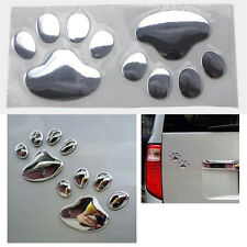 Silver Bear Paw Pet Animal Footprints Emblem Car Truck Decor 3D Sticker Decal