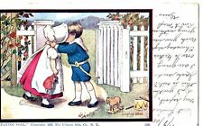 Old post card postcard PAYING TOLL kissing boy girl 1905 Romantic