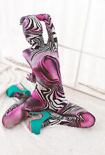 Pink purple animals pattern color combination Lycra Zentai spandex Unisex Suit
