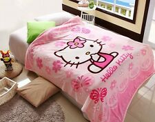 70*100cm Lovely Hello Kitty Baby Coral Fleece Blanket on Bed fabric