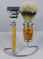 3PC SHAVING SET Hand Turned from MASUR BIRCH w/ stand. A wonderful gift item #4