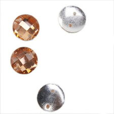 150x 24166 Hot Sale Round Orange Faceted Charms Sew-on Flatback Resin Beads 10mm