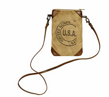 Mona B USA Stamped Small Crossbody Recycled Canvas Bag Khaki/Brown Leather Purse