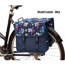Bicycle Double Pannier Bag Water Resistant Cycle Back Bike Design Blue Owls New