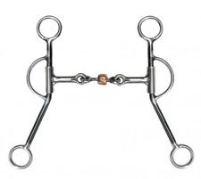 Showman Stainless Steel Training Snaffle Bit w/ Copper Dogbone Roller! NEW TACK!