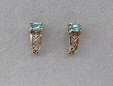GENUINE 9ct GOLD PARIABA COLOUR APATITE EARRINGS, WITH CERTIFICATE .
