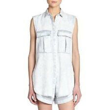 NEW Helmut Lang Sleeveless Denim Shirt Acid Wash Chambray Button Down SMALL S
