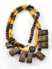 Vintage Bone Hand Carved bead Majohn Mah jong Tile Dice pendant Necklace 24""
