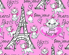 DISNEY ARISTOCATS MARIE MERCI PARIS BONJOUR 100% COTTON FABRIC KITTY CAT YARDAGE
