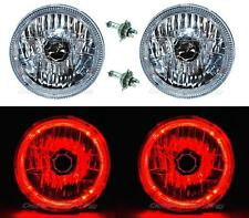 "7"" Halogen LED Red Halo Angel Eyes Headlight Headlamp H4 Light Bulbs Pair"