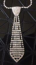 Cravate Courte Collier en Strass Cristal Argent Bijoux Accessoire Soirée Mariage