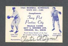Chicago Cubs & Chicago White Sox 1964 Baseball Schedule