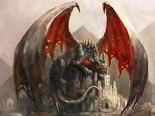 ART PRINT POSTER PAINTING DRAWING FANTASY DRAGON CASTLE WINGS LFMP1034
