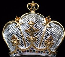 SILVER GOLD PRINCESS BEAUTY PAGEANT TIARA CROWN PIN BROOCH PENDANT JEWELRY 1.75""