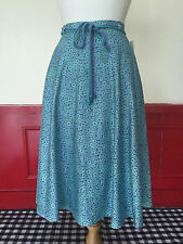 """TRUE VINTAGE SKIRT BLUE GREEN FLORAL BIAS CIRCLE FLARE 50s STYLE SIZE 10-12 W30"""""""