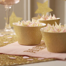ORO GLITTER Cupcake Wraps, Set di 10 TORTA Wraps