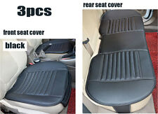 Universal 3PC Breathable Charcoal Leather Car Seat Cover Set Front & Rear Black